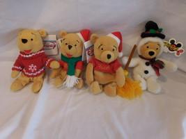 Disney Winnie The Pooh Christmas Set Of 4 Plush Beanie New w/ Tags Retired Rare - $43.78
