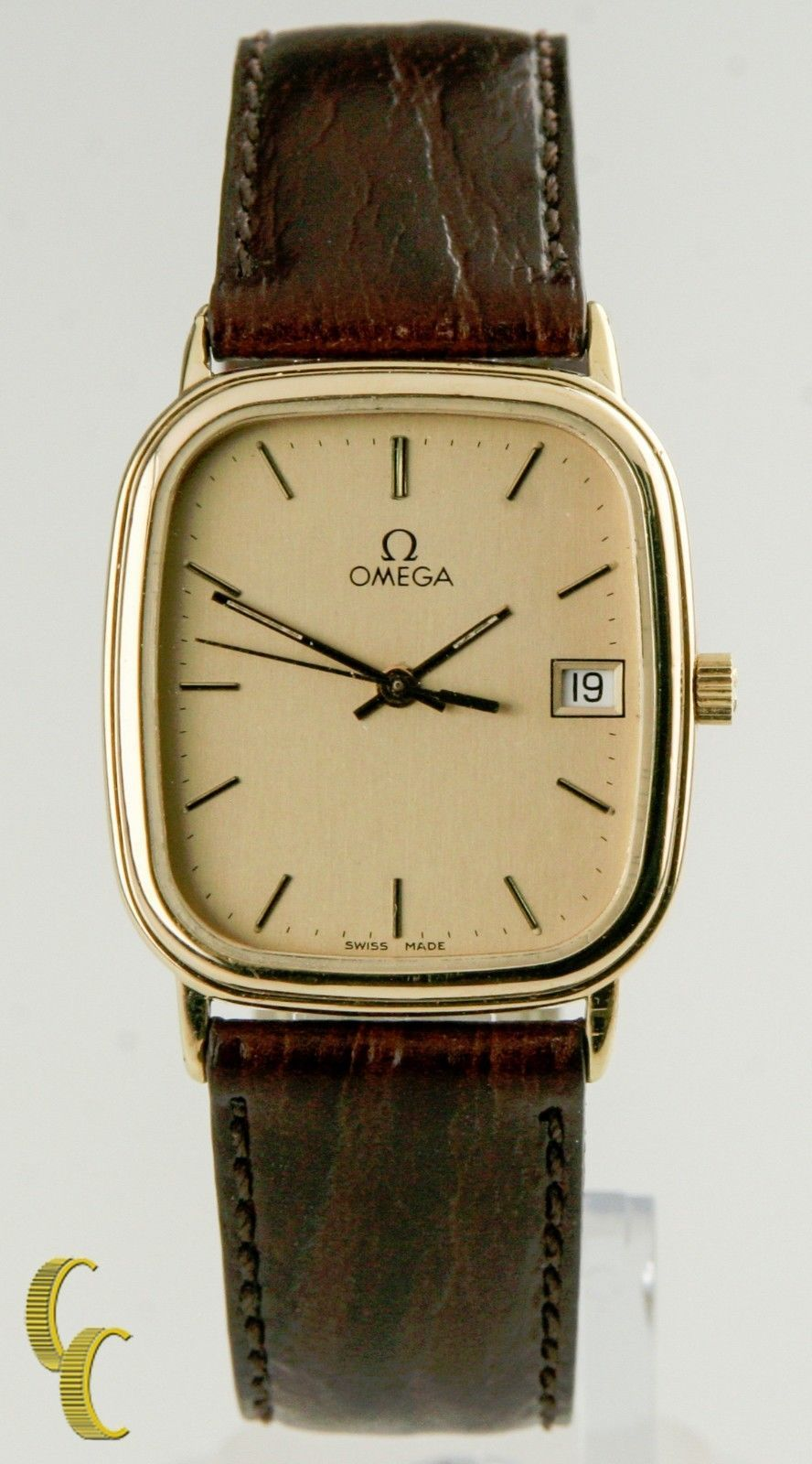 Omega Ω homme plaqué or quartz watch W / DATE détail et bracelet cuir