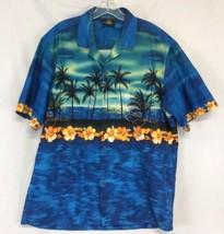 Mens ROYAL CREATIONS Hawaiian Shirt Blue Size XL Palm Trees Aloha Hibisc... - $22.76