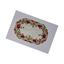 """Y H0775-12X18 Red Poppy Oval Placemat, 12"""" X 18"""", , 2 Piece - $23.99"""