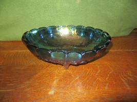 Vintage Iridescent Blue Carnival Glass 4 Footed Center Piece Fruit Bowl-Grape image 1