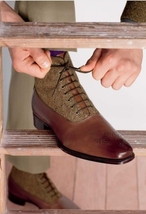 Handmade Men's Brown High Ankle Brogues Lace Up Leather & Tweed Boots image 1