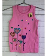 Baby Gap Toddler Girls Size 4T Pink Embroidered Hearts Flowers Shirt Tan... - $17.81