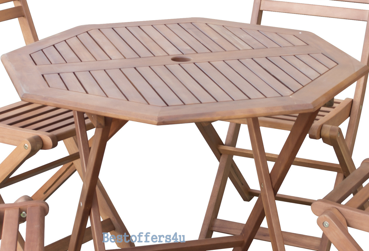 Wooden Garden Dining Set Table & 4 Chairs Folding Patio Conservatory Furniture image 4
