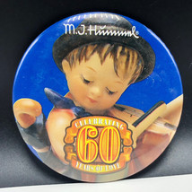 MJ HUMMEL PINBACK vintage collectors pin 60 years anniversary goebel vio... - $13.86