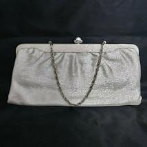 Vintage Silver Metallic Purse Clutch Evening Bag Flower Clasp  - $24.14