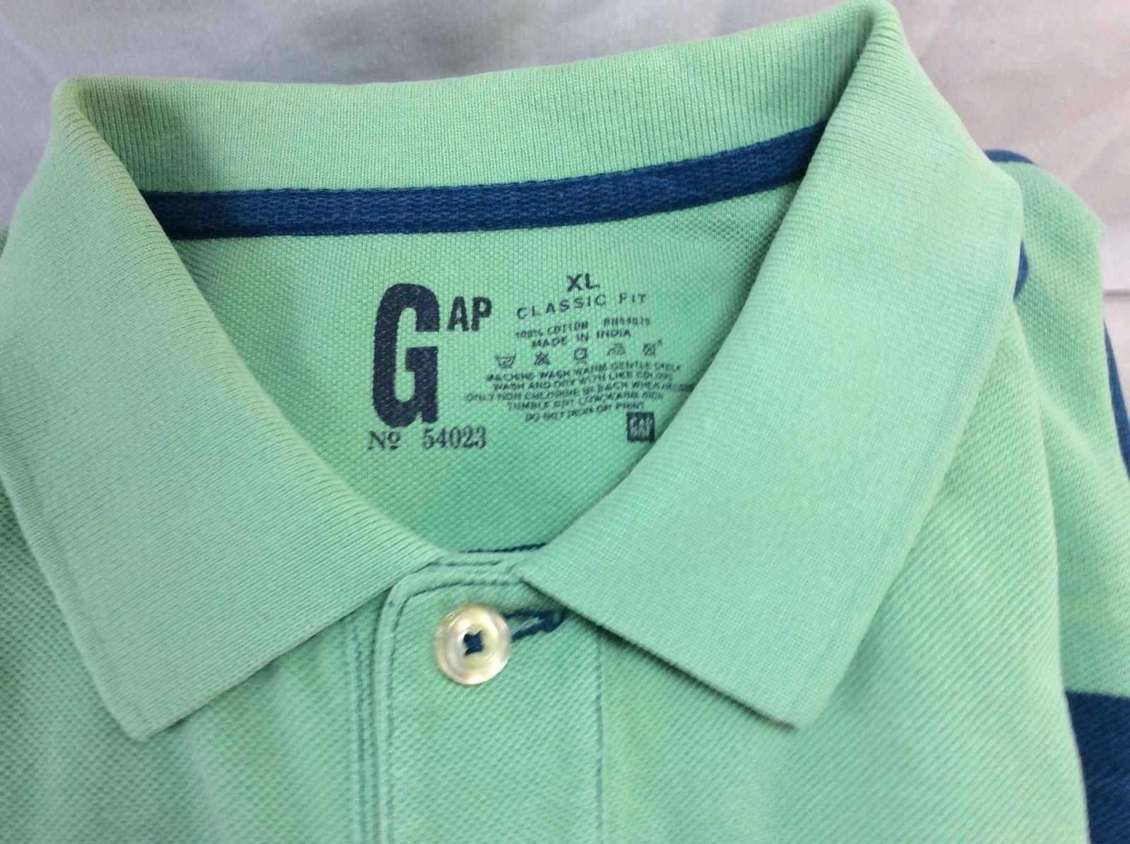 Men Polo Shirt GAP XL Classic Fit, 100% Cotton, Striped Blue and Green. image 2