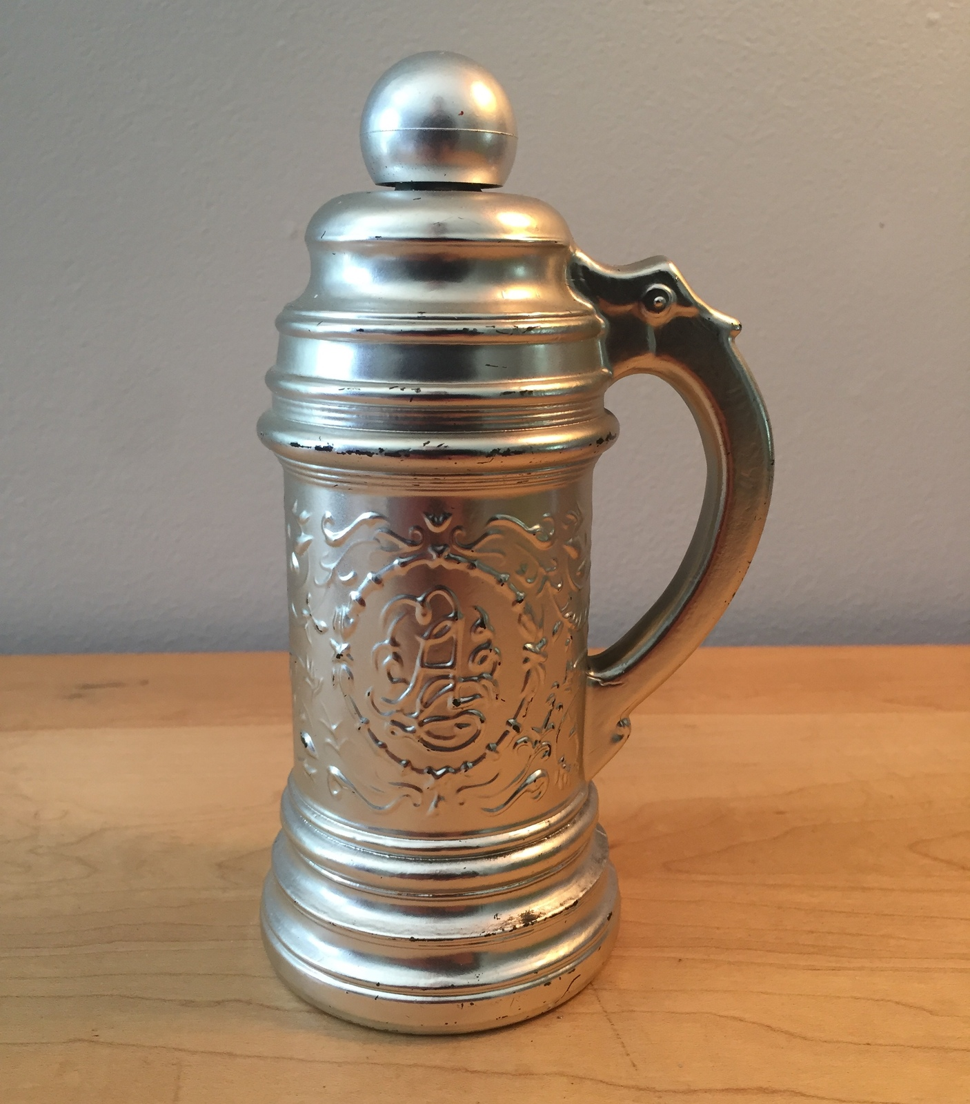 70s Avon Silver Beer Stein after shave bottle with handle (Tribute)