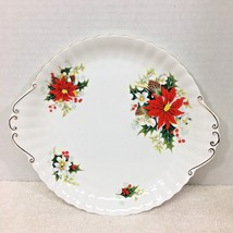 """Yuletide Royal Albert Handled Cake Plate Fluted and Ribbed 10 1/4"""" NICE!  - $49.01"""