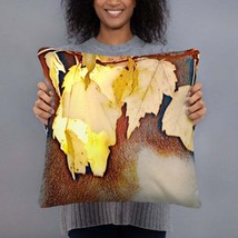 Fall Throw Pillow with Yellow Leaves, Home Decor, Gift For Her - $29.88