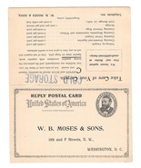 UY1 Moses Carpet Care 1898 Washington DC Unsevered Paid Reply Postal Card - ₹566.42 INR
