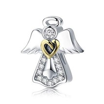 MallDou Jewelry Angel Wing Heart Shape Charm Gold Plated Bead Charms for Pandora - $12.33