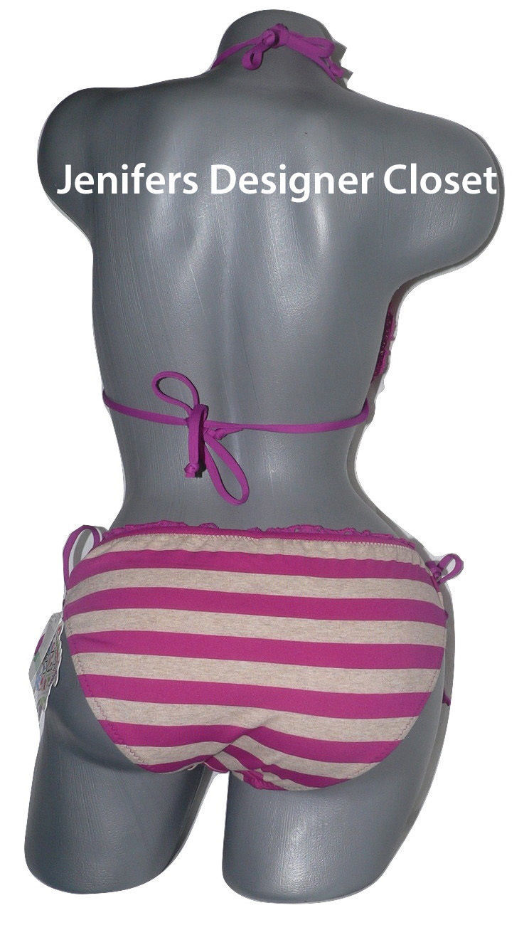 NWT BECCA Rebecca Virtue L bikini swimsuit striped ruffle triangle embroidered