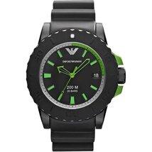 Emporio Armani AR6102 Black Rubber Strap ACQUA Watch - $174.99