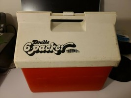 Vintage The Double Six Packer Thermos Cooler Red White Ice Chest Camping Boating - $26.71