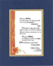 Personalized Poem for Mothers - Thank You Mom.Poem on 11 x 14 inches Double Beve - $19.75