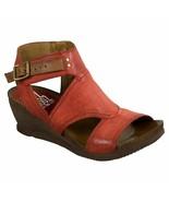 Miz Mooz Leather Side Zip Wedge Sandals - Scout Tomato EU 37 - £98.28 GBP