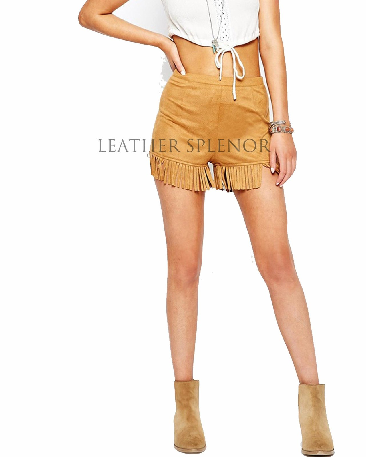 Sexy Women Suede Fringed Leather Shorts
