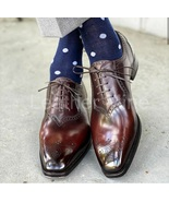 Men's Handmade Brown Leather Oxfords Shoes, Custom Made Formal Dress Shoes  - $199.99+