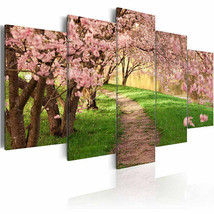 Cherry Blossom Tree Road 5 PC Canvas Printed Wall Poster Picture Home Decor - $20.89+
