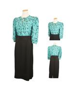 1980s Vintage Cocktail Party Dress 6 Petite Turquoise Black Secretary Pu... - $39.95