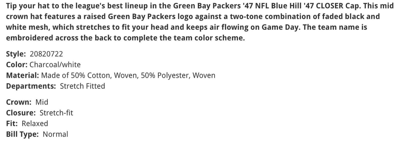 Green Bay Packers '47 Brand Blue Hill Closer FlexFit L/XL Fitted Mesh Cap Hat