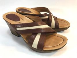 DANSKO brown & white leather slide cross strap open toe sandals 9 40 FRE... - $49.45