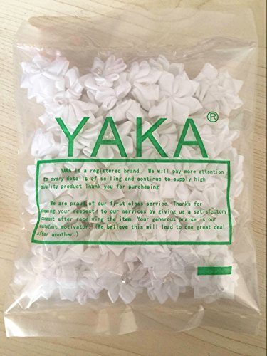 YAKA 60Pcs White Satin Ribbon Flowers Bows Rose W/Rhinestone Appliques Craft Wed