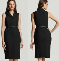 $398 Elie Tahari Izzy Black Stretch Wool Leather Back Collar Belted Dress 6 - $161.99