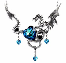Large Dragon Blue Crystal Hearts Draig O Gariad Necklace Alchemy Gothic P772 - $84.95