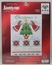 Janlynn Christmas Is Hope Love Joy Peace Counted Cross Stitch Poinsettias Angels - $21.99