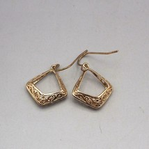 Gold Tone Filigree Dangle Earrings Vtg - $14.84