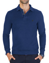 New Mens Nautica Windward Long Sleeve Blue Classic Fit French Ribbed Polo L $79 - $28.99