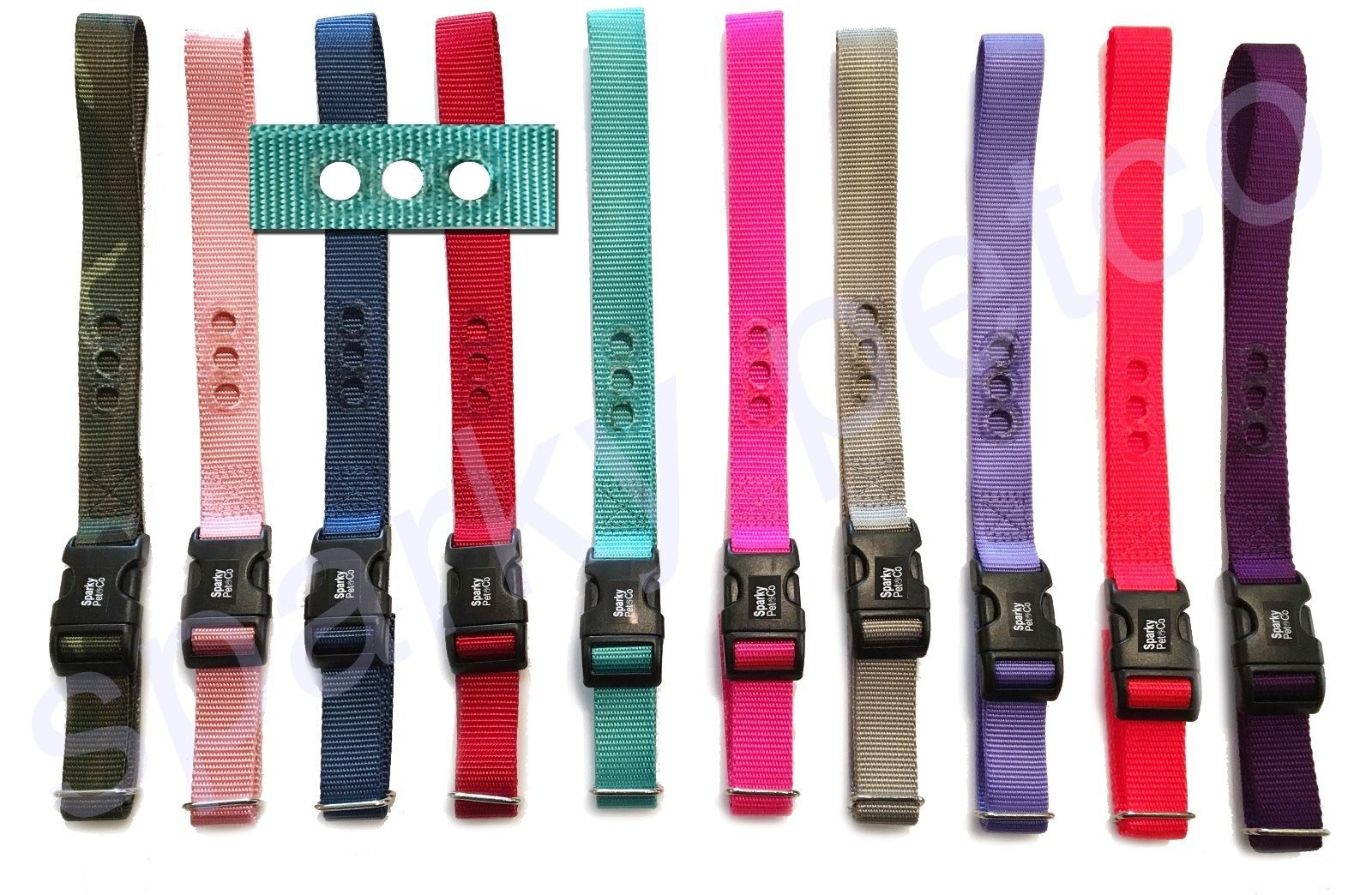 "Sparky PetCo 1"" Nylon 3 Hole Universal Strap PetSafe Compatible- 12 Colors NEW"