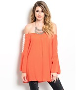 Flitry Tangerine Orange Off Shoulder Boho Jrs Party Cruise Top, Crochet ... - $25.33 CAD