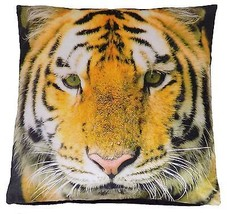 "Filled Tiger Big Cat Animal Orange Black Luxurious Velvet 17"" Cushion - $9.76"
