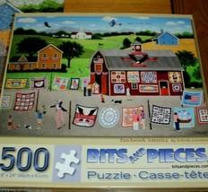 Jigsaw Puzzle 500 Pieces USA Patriotic Patchwork Quilt Show Folk Art Com... - $14.84