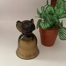 Candle Holder Dog Amber Brown Color Dog Head and Cup Glass Candle Holder... - $12.99