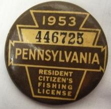 1953 Vintage Pennsylvania Fishing License Pin image 1