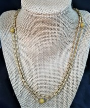Vintage Long Gold Plated Chain Necklace with Beige Beads - $4.00