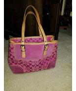 "Coach J3J-6892 Hampton Signature Pink Leather Purse/Satchel 4x8.5x11"" LOOK  - $58.41"