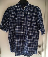 Alan Flusser shirt M blue plaid Short  sleeve button down NWT - $20.29