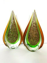 Large Murano Sommerso Tear Drop Shaped Art Glass 24k Gold Sculpture 11in - $467.49
