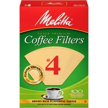 Melitta Natural Brown Coffee Filters, Size #4, Case of 12 Boxes with 100... - $55.05