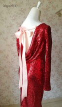 Sexy Wine Red Fitted Long Sleeve Open Back Sequin Dress Short Prom Dress image 5