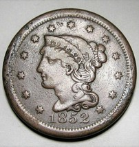1852 Large Cent Braided Hair FINE AD248 - $25.09