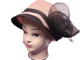 August Hat Hyancith Mesh & Feather Accented Adjustable Cloche Pink - €16,82 EUR