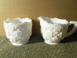 Vintage Milk Glass Pair Westmorland Creamer & Sugar Bowl Old Quilt Pattern - $11.64