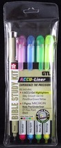 Bible Study Marking Kit Accu-Liner Set of 5 NEW 4 Gel Highlighters 1 Mic... - $13.14
