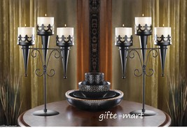 2 Black Torch Gothic dungeon castle medieval halloween Candle holder Can... - $35.15